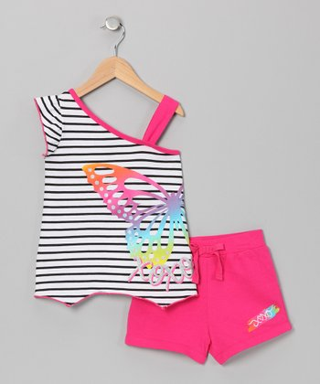 Fuchsia Butterfly Asymmetrical Tank & Shorts - Toddler & Girls