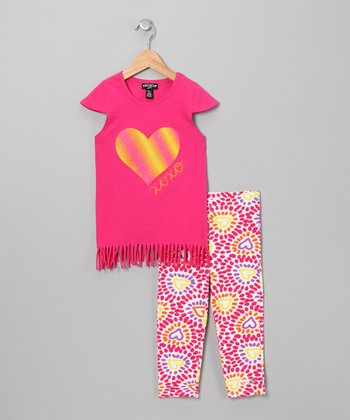Fuchsia Heart Fringe Top & Pants - Girls