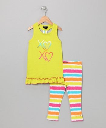 Yellow 'XOXO' Racerback Tunic & Stripe Leggings - Girls
