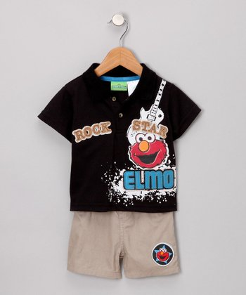 Black Elmo Polo & Shorts