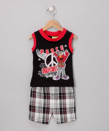 Black Elmo Rock Tank & Shorts - Infant