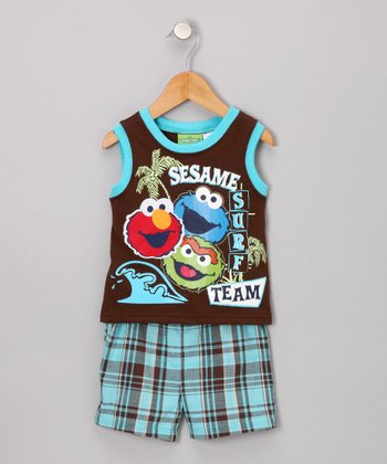 Brown Elmo & Friends Tank & Shorts