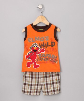 Orange Elmo Safari Tank & Shorts