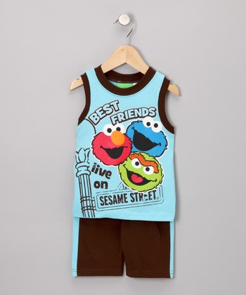 Blue & Chocolate 'Best Friends' Tank & Shorts - Infant