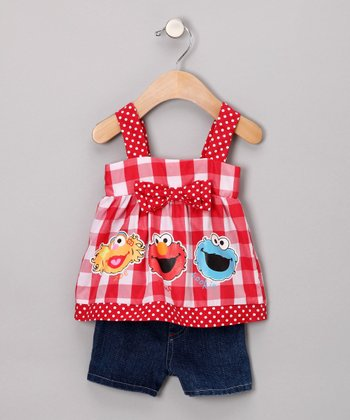 Red & White Bow Top & Shorts - Infant