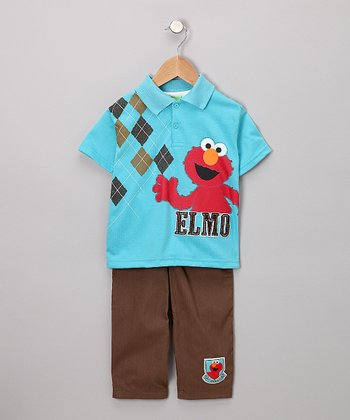 Blue Elmo Polo & Pants - Toddler