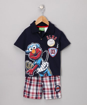 Navy Elmo Baseball Polo & Shorts - Toddler