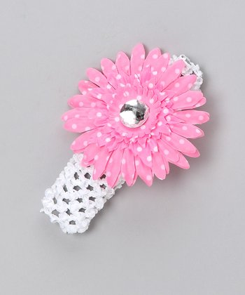 White Polka Dot Flower Headband