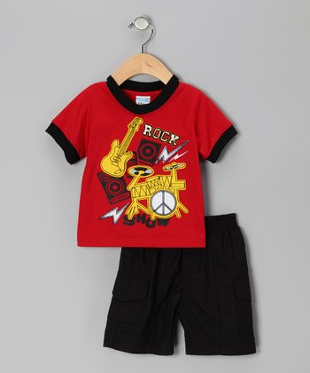 Red 'Rock' Tee & Shorts