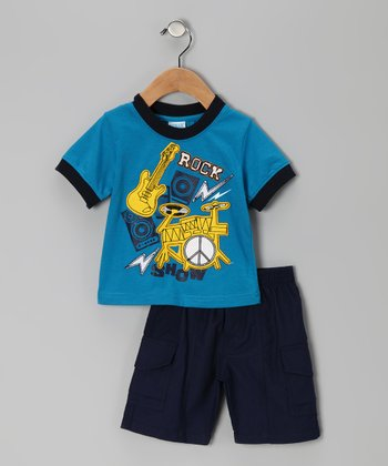 Royal Blue 'Rock' Tee & Shorts