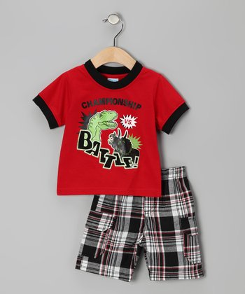 Red Plaid Dino 'Battle' Tee & Shorts