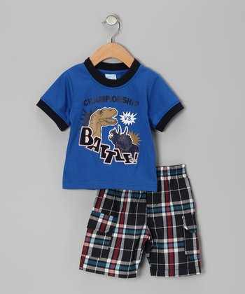 Blue Plaid Dino 'Battle' Tee & Shorts