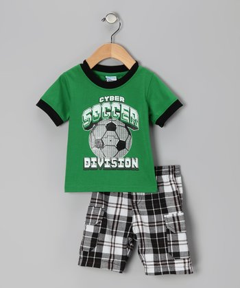 Green Plaid 'Soccer' Tee & Shorts