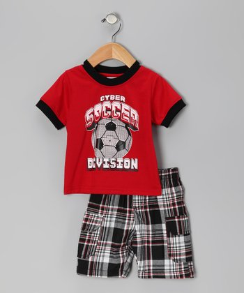 Red Plaid 'Soccer' Tee & Shorts