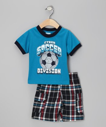 Blue Plaid 'Soccer' Tee & Shorts