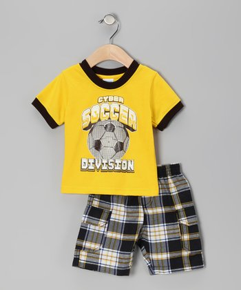 Yellow Plaid 'Soccer' Tee & Shorts