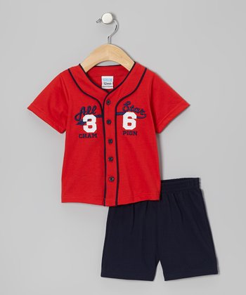 Red 'All Star' Top & Navy Shorts - Infant