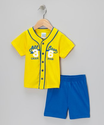 Yellow 'All Star Champion' Shorts Set - Infant
