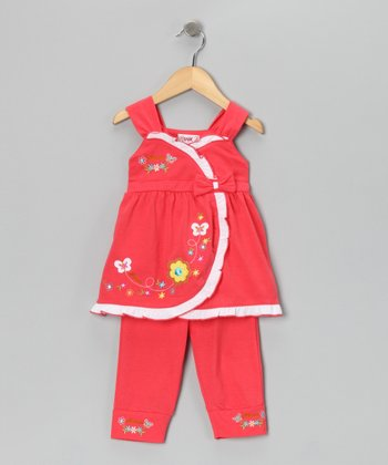 Coral Flower Wrap Top & Capri Leggings - Toddler & Girls