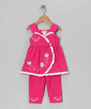 Pink Flower Wrap Top & Capri Leggings - Toddler & Girls