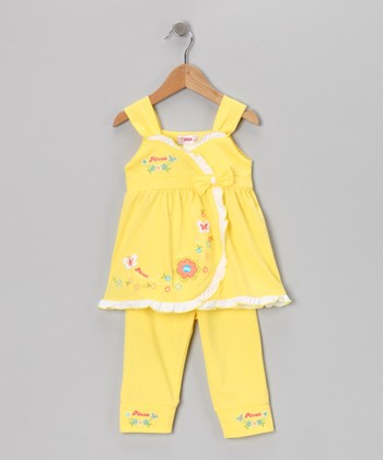 Yellow Flower Wrap Top & Capri Leggings - Toddler & Girls
