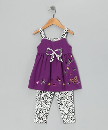 Purple Cheetah Butterfly Tunic & Leggings