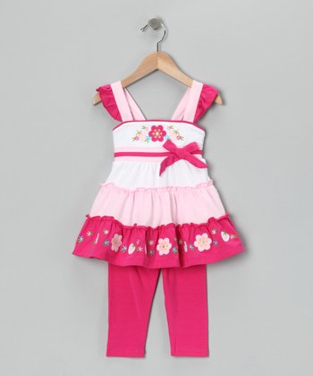 Pink Tiered Tunic & Capri Leggings - Toddler & Girls