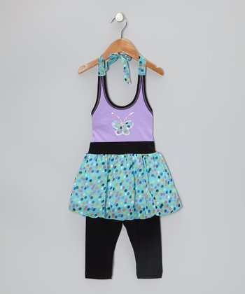 Aqua Sequin Butterfly Tunic & Black Leggings - Toddler & Girls