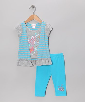 Aqua Stripe Flyaway Tunic & Capri Leggings - Toddler & Girls