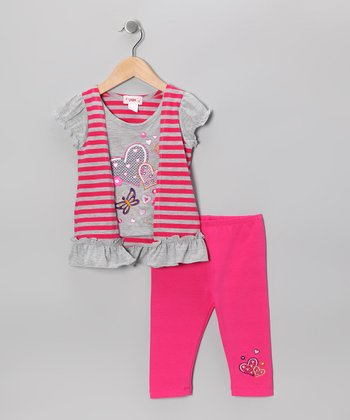 Pink Stripe Flyaway Tunic & Capri Leggings - Toddler & Girls
