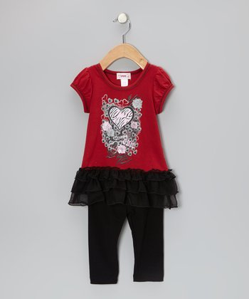 Red Heart Ruffle Tunic & Black Leggings - Toddler & Girls