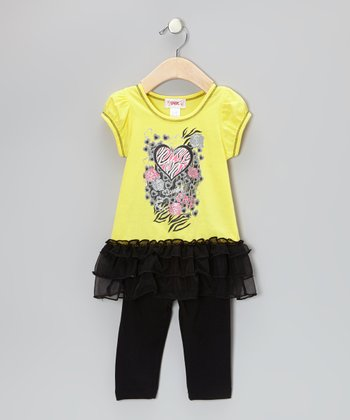 Yellow Heart Ruffle Tunic & Black Leggings - Toddler & Girls