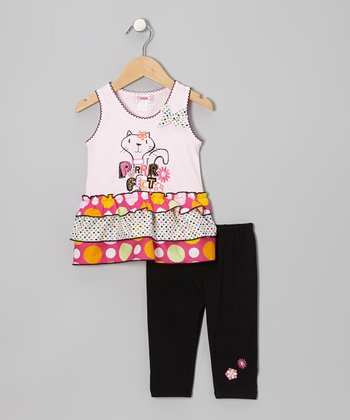 Pastel Pink 'Purrfect' Tank & Black Leggings - Toddler & Girls