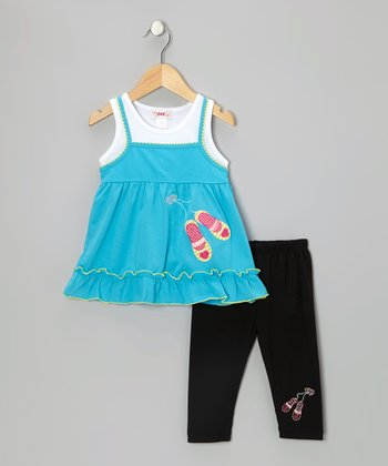 Blue Slipper Tunic & Black Leggings - Toddler & Girls