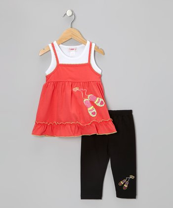 Coral Slipper Tunic & Black Leggings - Toddler & Girls