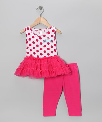 Pink Polka Dot Tunic & Capri Leggings - Toddler & Girls