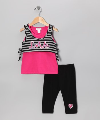 Pink 'Love' Layered Tank & Black Capri Leggings - Toddler & Girls