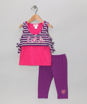 Pink 'Love' Tank & Purple Capri Leggings - Toddler & Girls