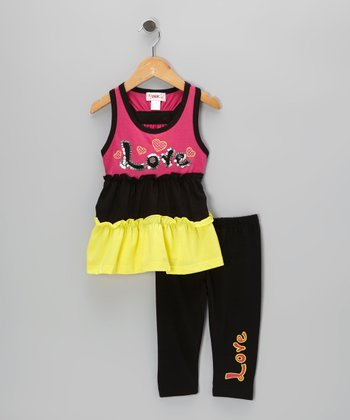 Pink Sequin 'Love' Tunic & Black Leggings - Toddler & Girls