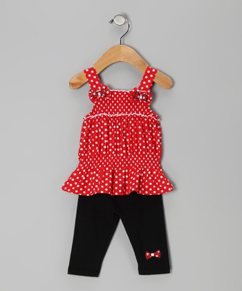 Red Bow Polka Dot Tunic & Capri Leggings - Toddler & Girls