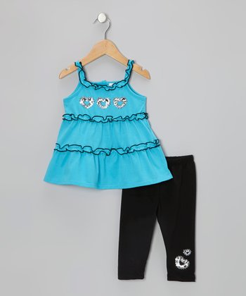 Blue Sequin Heart Tunic & Black Leggings - Toddler & Girls