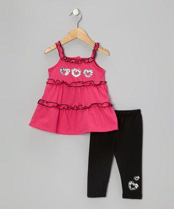 Pink Sequin Heart Tunic & Black Leggings - Toddler & Girls