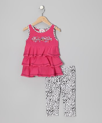 Hot Pink Tiered Tank & Leopard Leggings - Toddler & Girls
