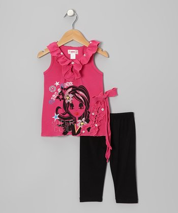 Hot Pink 'Super Cool' Tank & Black Leggings - Toddler & Girls
