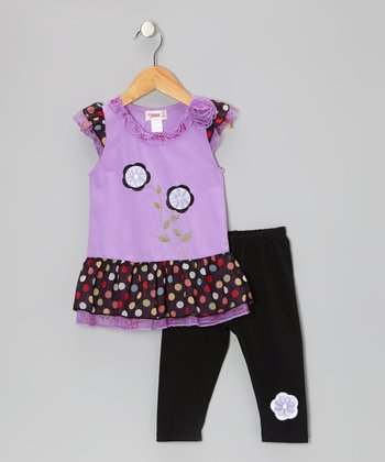 Purple Two-Flower Tunic & Black Leggings - Toddler & Girls