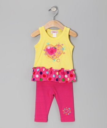Yellow & Pink Heart Skirted Tank & Leggings - Toddler & Girls