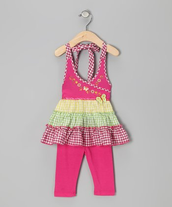 Pink Gingham Tier Halter Top & Leggings - Toddler & Girls