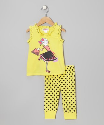 Yellow Girl Tank & Polka Dot Leggings - Toddler & Girls