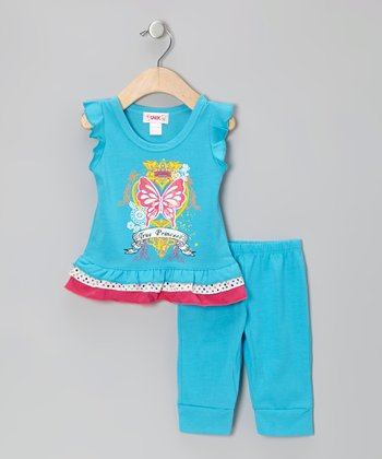 Unik Blue 'True Princess' Tunic & Leggings - Toddler & Girls