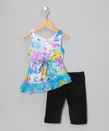 Blue Floral Tunic & Black Leggings - Toddler & Girls